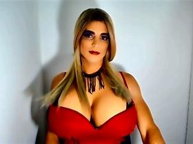 Dominant and accommodating transsexual girl endowed with a big cock, ass and tits, ready to feed you